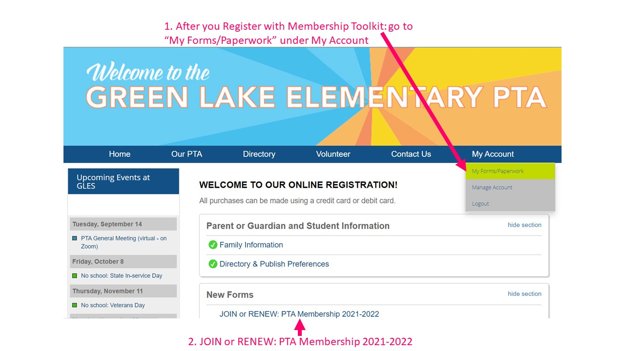 screen capture of instructions for joining or renewing PTA membership